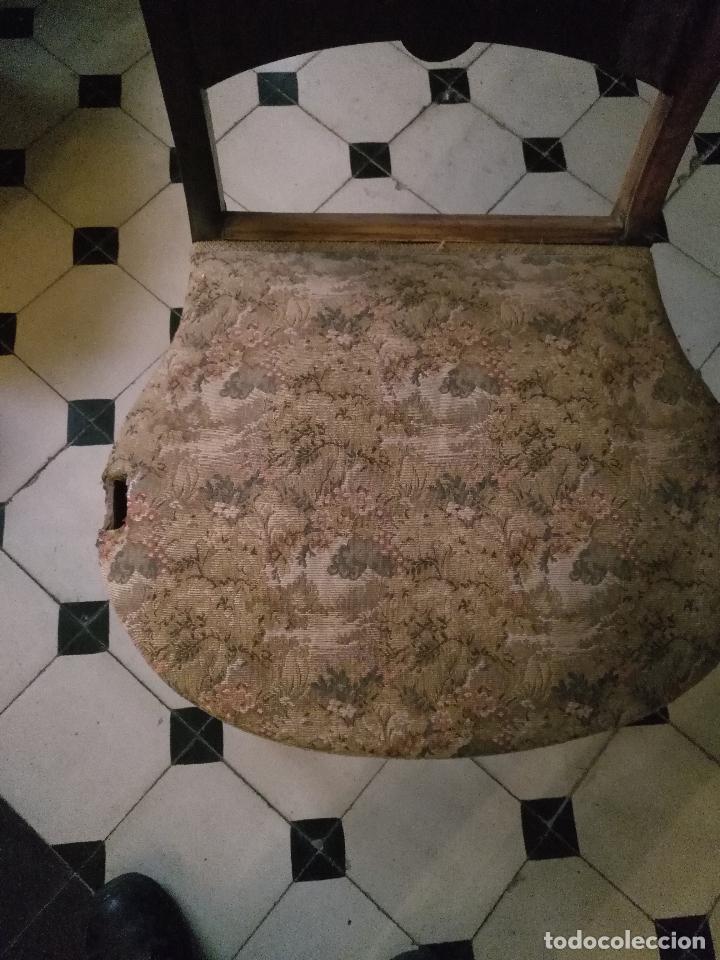 Antigüedades: antigua silla torneada madera y tapizada tela petit point o tapiz. a terminar de restaurar - Foto 10 - 113672907