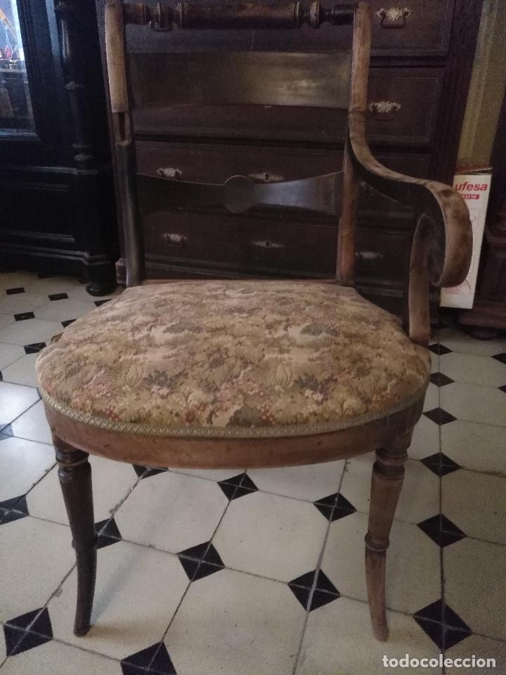 Antigüedades: antigua silla torneada madera y tapizada tela petit point o tapiz. a terminar de restaurar - Foto 12 - 113672907