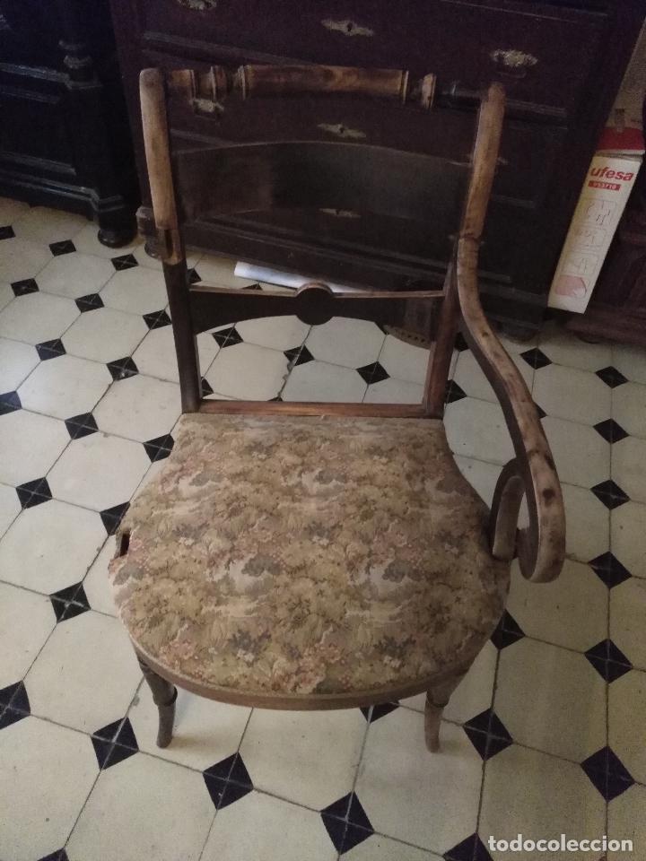Antigüedades: antigua silla torneada madera y tapizada tela petit point o tapiz. a terminar de restaurar - Foto 18 - 113672907