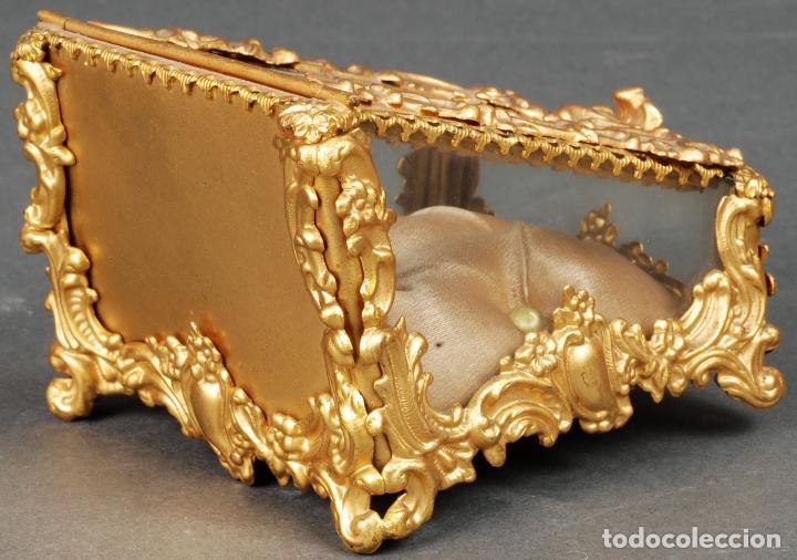 Antigüedades: Joyero estilo Art Nouveau sello Depose París en latón dorado y cristal hacia 1920 - Foto 4 - 113677599