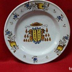 Antigüedades: PLATO DE TALAVERA 40 CMTS , PP XX, FIRMADO, ESCUDO OBISPO.. Lote 113719875