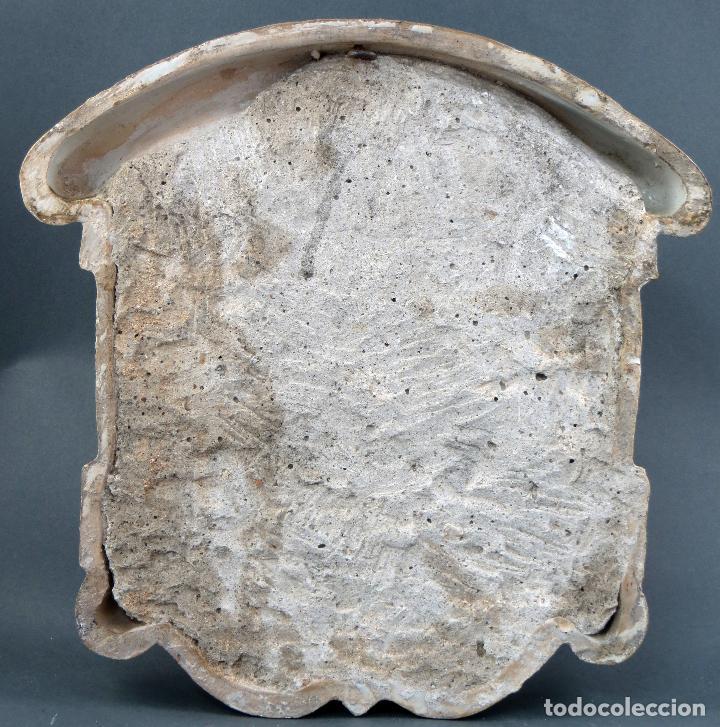 Antigüedades: Placa Ave María cerámica esmaltada blanca y azul Triana principios del siglo XX - Foto 6 - 113763951