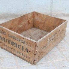 Antigüedades: CAJA DE MADERA LECHE CONDENSADA NUTRICIA, (RESTAURADO). Lote 113769847