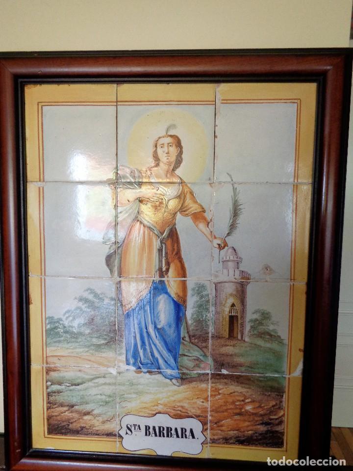 PANEL SANTA BARBARA.MANISES.SIGLO XIX (Antigüedades - Porcelanas y Cerámicas - Azulejos)