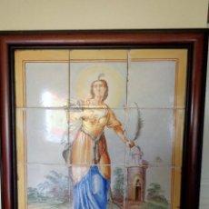 Antigüedades: PANEL SANTA BARBARA.MANISES.SIGLO XIX. Lote 113815499