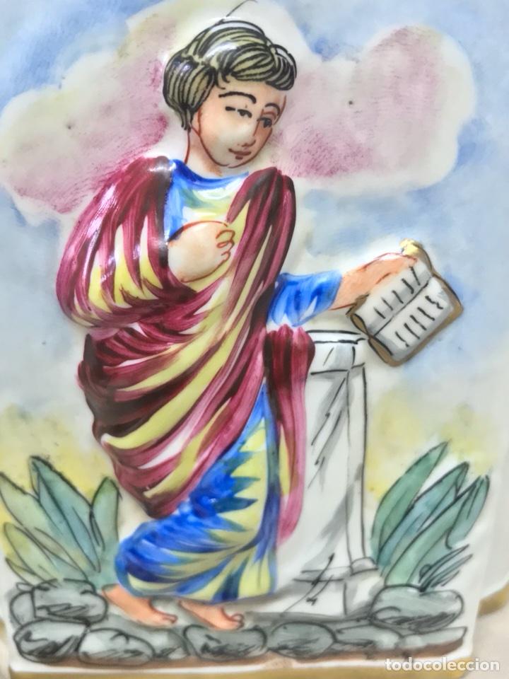 Antigüedades: ESENCIERO BOTELLA PORCELANA CAPODIMONTI PINTADO A MANO RELIEVE CAPODIMONTE 15CM ALTO - Foto 17 - 113882062
