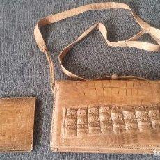 Antigüedades: MAGNIFICO BOLSO DE PIEL DE COCODRILO + CARTERA DE GUINEA ZBISAU (AFRICA).. Lote 113893671