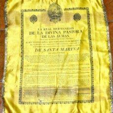 Antigüedades: CARTEL EN SEDA DE LA DIVINA PASTORA. 1830. Lote 113911031