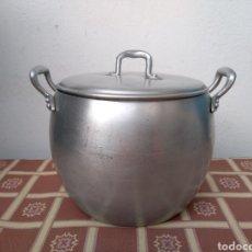 Antigüedades: **ANTIGUA OLLITA DE ALUMINIO, SIN BOLLADURAS, (14/16/14 CM)**. Lote 113913602