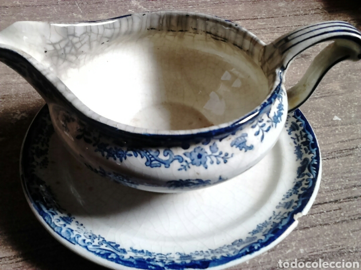 Antigüedades: Antigua pieza de cerámica , salsera,pickman sa sevilla,cartuja,regla - Foto 5 - 113919687