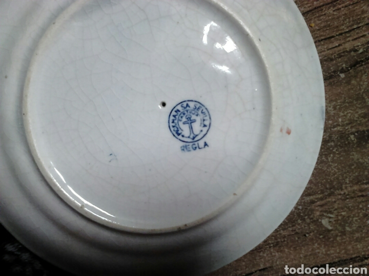 Antigüedades: Antigua pieza de cerámica , salsera,pickman sa sevilla,cartuja,regla - Foto 6 - 113919687