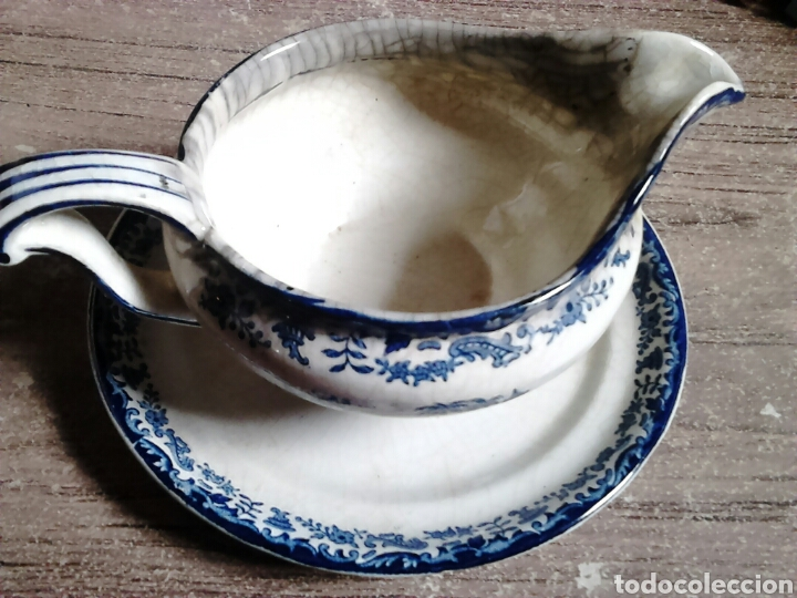 Antigüedades: Antigua pieza de cerámica , salsera,pickman sa sevilla,cartuja,regla - Foto 3 - 113919687