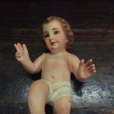 Antigüedades: PRECISO NIÑO JESÚS DE OLOT OJOS DE CRISTAL A RESTAURAR. LEER BIEN. Lote 175481155