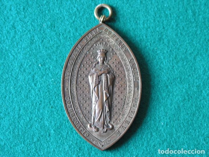 Antigüedades: MEDALLA CONGREGACIÓN MARIANA SJ - PRINCIPIO SIGLO XX - BRONCE - CON ARGOLLA - FIRMADA - (VER DESC) - Foto 2 - 76880255