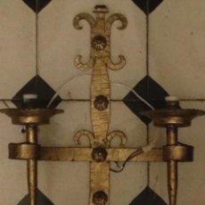 Antigüedades: ANTIGUO APLIQUE LAMPARA METAL DORADO PARA PARED GRANDE - 45 X 33 CM . Lote 113952227