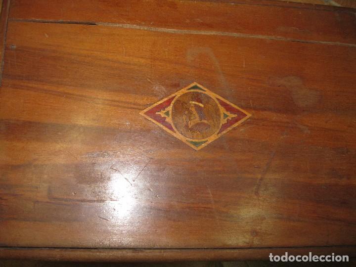 Antigüedades: ANTIGUA CAJA NECESER MADERA DE CAOBA CON INCRUSTACIONES MARQUETERIA PRINCIPIOS DE SIGLO - Foto 6 - 90074660