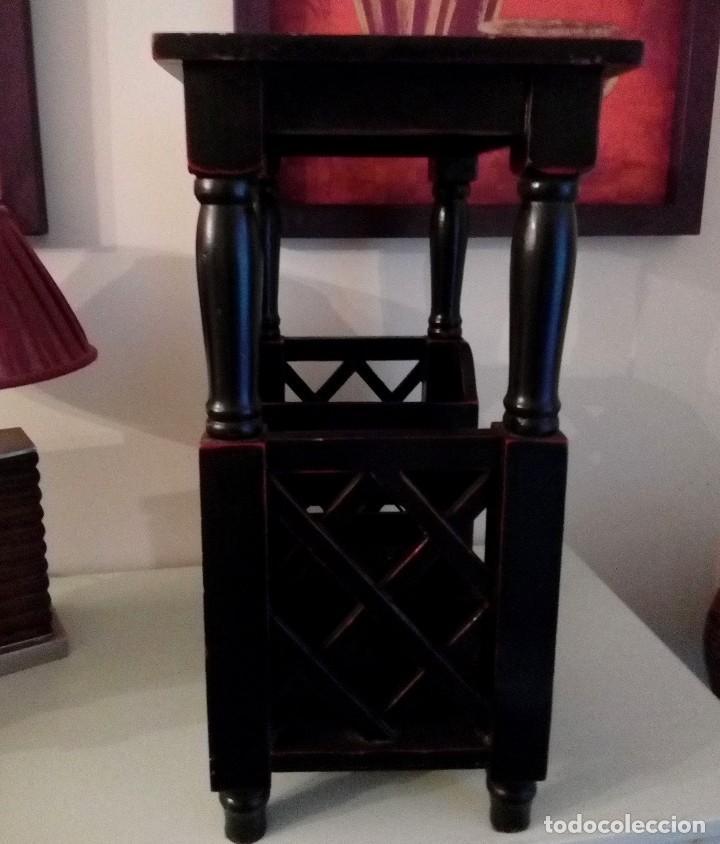 Antigüedades: MUEBLE CHINO LACADO - MESA AUXILIAR BOTELLERO - 64 X 48 CM - Foto 5 - 113973535