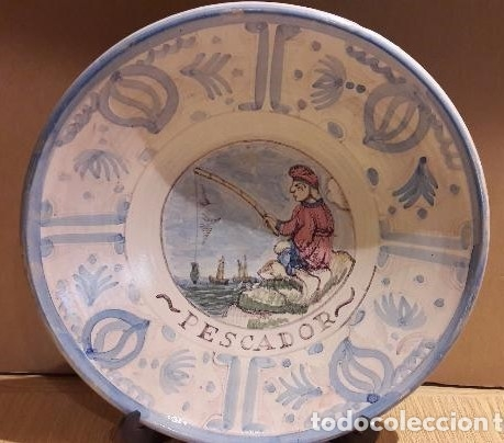 MAGNÍFICO PLATO DE CERÁMICA. OFICIOS / PESCADOR. 33 CM Ø. PPOS. S. XX. PERFECTO / VER FOTOS. (Antigüedades - Hogar y Decoración - Platos Antiguos)