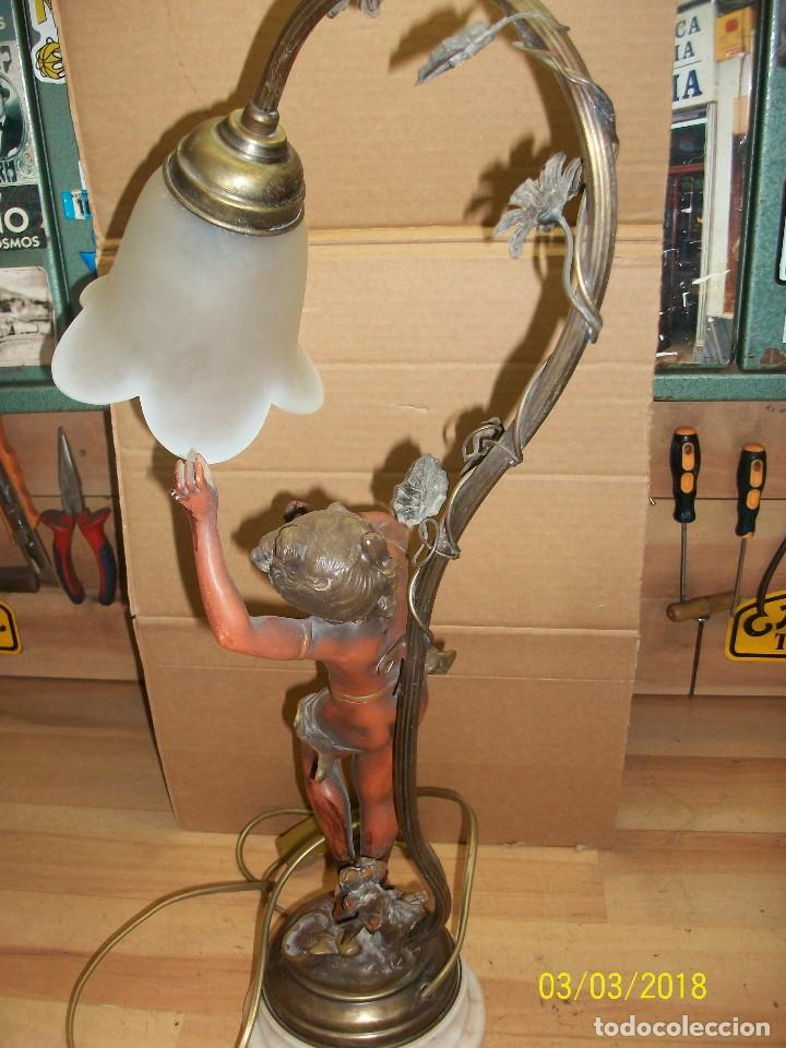 Antigüedades: ANTIGUA LAMPARA CON BASE DE MARMOL - Foto 5 - 114005539