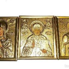 Antigüedades: ICONO RELIGIOSO POLACO VINTAGE 3 ICONOS. Lote 114008115