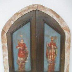 Antigüedades: ANTIGUO MARCO Y PUERTAS - BARROCAS - CAPILLA, DECORACIÓN - MADERA POLICROMADA - S. XVIII. Lote 114025699