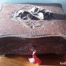 Antigüedades: CAJA TALLADA EN MADERA SIGLO XIX. RECUERDO DE LUCHON. Lote 114042575