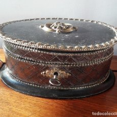 Antigüedades: CAJA-JOYERO DE MADERA Y PIEL SIGLO XIX.. Lote 114043023