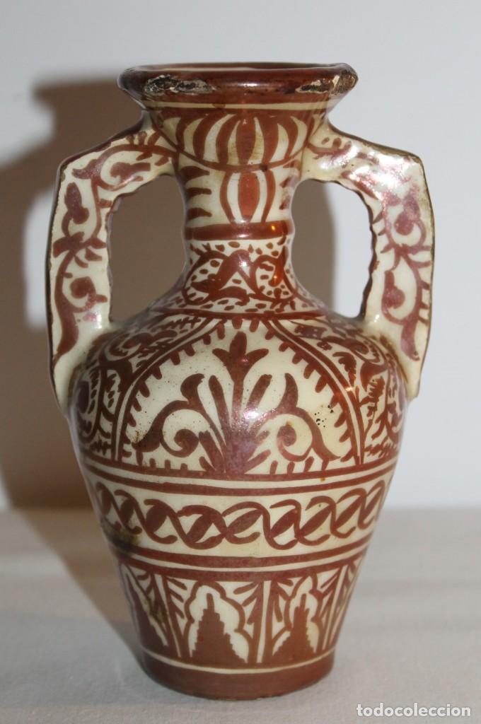 JARRÓN EN CERÁMICA DE REFLEJOS METÁLICOS DE MANISES - PRINCIPIOS DEL SIGLO XX (Antigüedades - Porcelanas y Cerámicas - Manises)