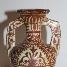 Antigüedades: JARRÓN EN CERÁMICA DE REFLEJOS METÁLICOS DE MANISES - PRINCIPIOS DEL SIGLO XX. Lote 114047303