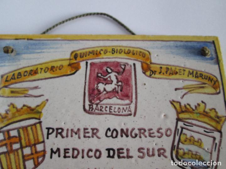 Antigüedades: AZULEJO CERAMICA ALCORA - PRIMER CONGRESO MEDICO DEL SUR - MALAGA 1950 - PAGET MARUNY - 13,5X13,5 - Foto 5 - 114059967