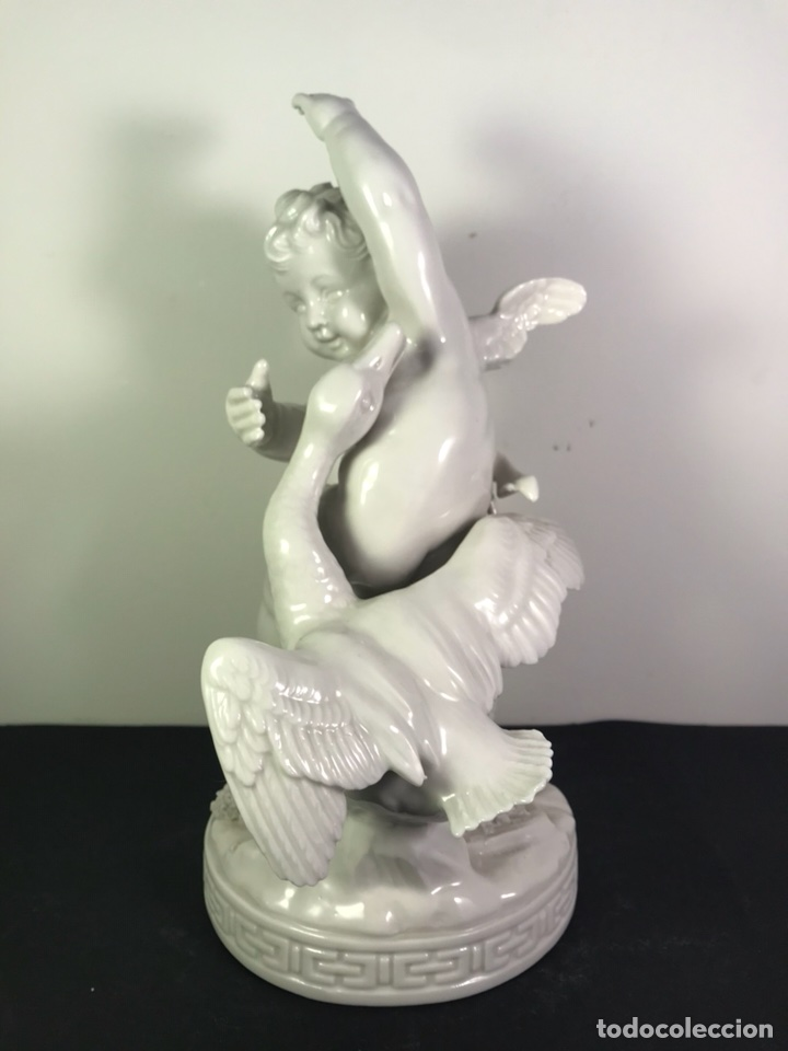 Antigüedades: Figura Porcelana- Angelito con Ganso- Algora- 22 cm - Foto 5 - 114094531