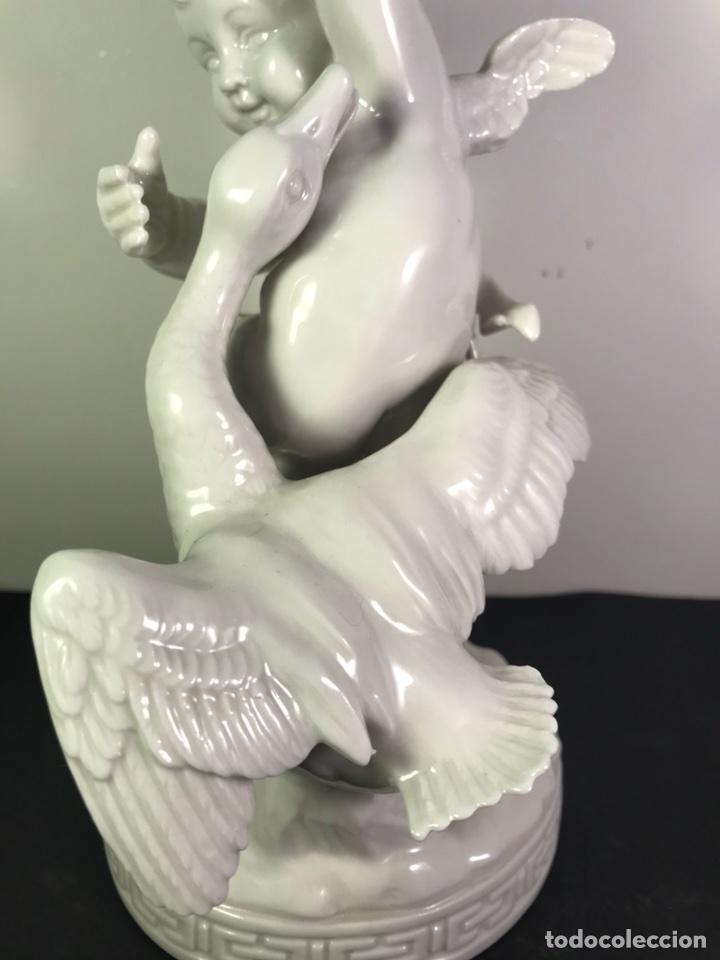 Antigüedades: Figura Porcelana- Angelito con Ganso- Algora- 22 cm - Foto 6 - 114094531