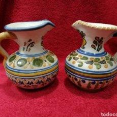 Antigüedades: JUEGO 2 JARRAS ANTIGUAS CERAMICA DE TALAVERA. Lote 114115675