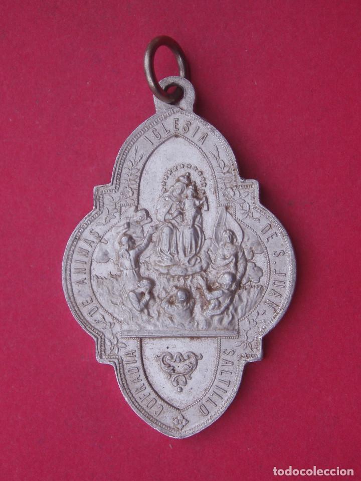 MEDALLA ANTIGUA COFRADÍA DE ANIMAS IGLESIA DE SAN JUAN. SALTILLO. COAHUILA DE ZARAGOZA. MÉXICO. (Antigüedades - Religiosas - Medallas Antiguas)
