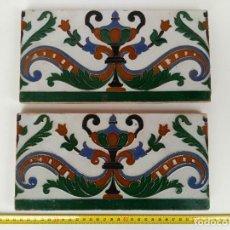 Antigüedades: LOTE DE 2 AZULEJOS MENSAQUE TRIANA. Lote 114120259