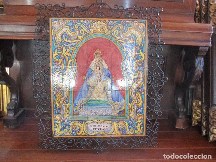 Antigüedades: Retablo ceramico Virgen de los Reyes (azulejos) - Foto 2 - 114127403