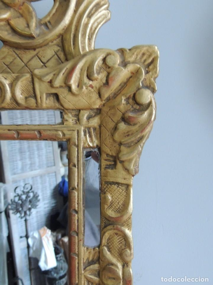 Antigüedades: ESPEJO TIPO CORNUCOPIA DEL XIX DE MADERA DORADA EN ORO FINO - Foto 4 - 114176199