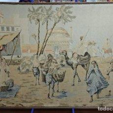Antigüedades: ANTIGUO TAPIZ DE HILO NATURAL, MOTIVOS AFRICANOS. Lote 114204159