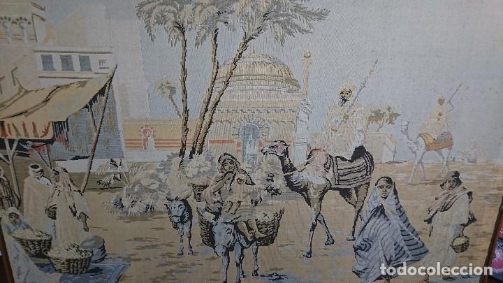 Antigüedades: ANTIGUO TAPIZ DE HILO NATURAL, MOTIVOS AFRICANOS - Foto 3 - 114204159