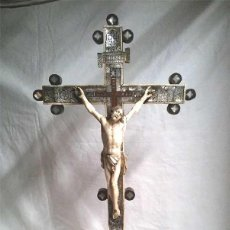 Antigüedades: CRISTO CRUCIFIJO TALLA DE MARFIL Y MARQUETERIA NACAR S XIX, BUEN ESTADO. MED 62 CM. Lote 114210895