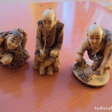 Antigüedades: NETSUKE TRES FIGURAS . Lote 114215047