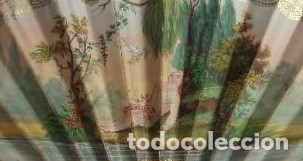 Antigüedades: ABANICO DE NIÑA. PAÍS DE PERGAMINO. PINTADO A MANO. ADORNADO CON ESPEJUELOS DORADOS. - Foto 6 - 84342164