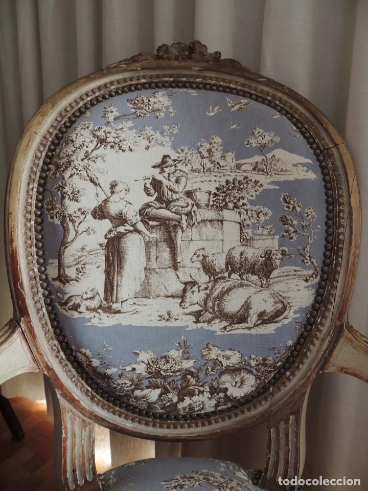 Antigüedades: SILLON BUTACA LUIS XVI DE EPOCA S. XVIII - Foto 10 - 114275011