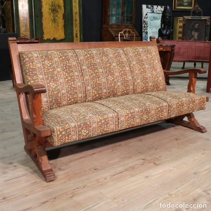 Sof r stico en madera de roble comprar sof s antiguos en todocoleccion 114280563 - Sofas rusticos de madera antiguos ...