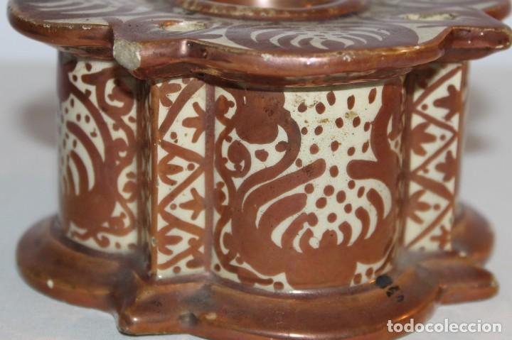 Antigüedades: TINTERO EN CERÁMICA DE REFLEJOS METÁLICOS - MANISES - PRINCIPIOS DEL SIGLO XX - Foto 4 - 114287135