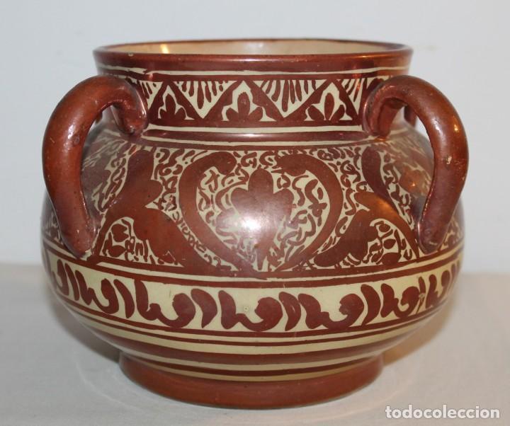 JARRÓN DE 4 ASAS - CERÁMICA REFLEJOS METÁLICOS - MANISES - INSCRIPCIÓN ÁRABE - PRINCIPIOS SIGLO XX (Antigüedades - Porcelanas y Cerámicas - Manises)