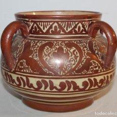 Antigüedades: JARRÓN DE 4 ASAS - CERÁMICA REFLEJOS METÁLICOS - MANISES - INSCRIPCIÓN ÁRABE - PRINCIPIOS SIGLO XX. Lote 114288787