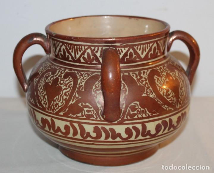 Antigüedades: JARRÓN DE 4 ASAS - CERÁMICA REFLEJOS METÁLICOS - MANISES - INSCRIPCIÓN ÁRABE - PRINCIPIOS SIGLO XX - Foto 2 - 114288787
