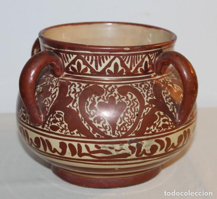 Antigüedades: JARRÓN DE 4 ASAS - CERÁMICA REFLEJOS METÁLICOS - MANISES - INSCRIPCIÓN ÁRABE - PRINCIPIOS SIGLO XX - Foto 3 - 114288787