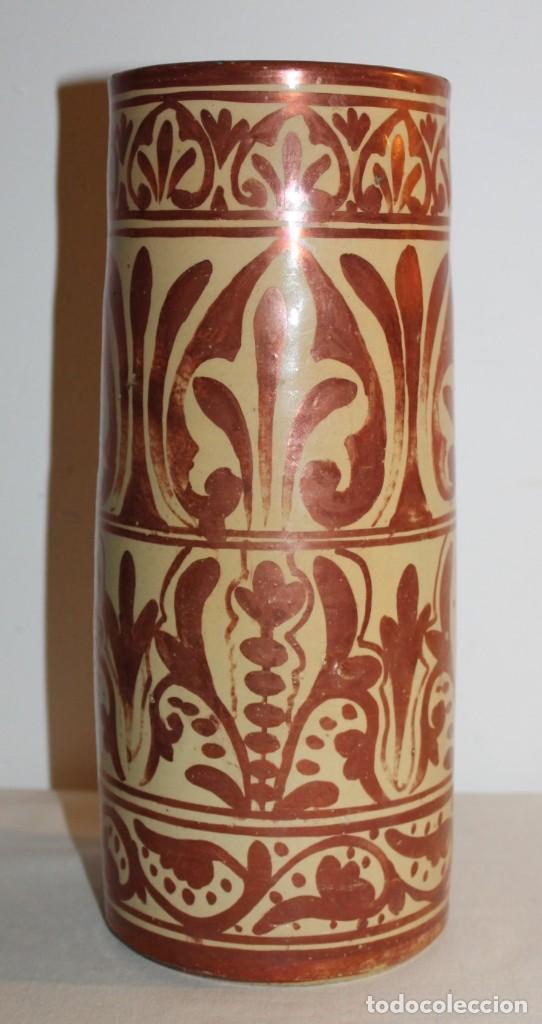 JARRÓN CILÍNDRICO EN CERÁMICA DE REFLEJOS METÁLICOS DE MANISES - PRINCIPIOS DEL SIGLO XX (Antigüedades - Porcelanas y Cerámicas - Manises)